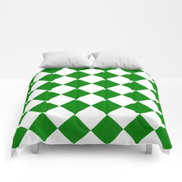 Large Diamonds - White and Green Comforters