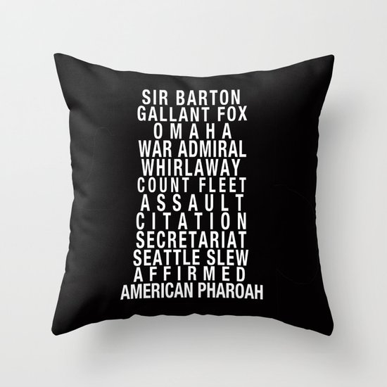 Triple Crown Winners Subway Art Throw Pillow