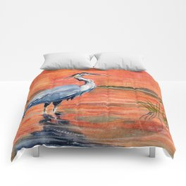Great Blue Heron in Marsh Comforters
