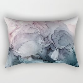 Blush and Paynes Gray Flowing Abstract Reflect Rectangular Pillow