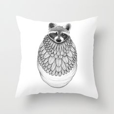 Raccoon- Feathered Throw Pillow