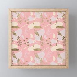 Elegant modern coral pink watercolor faux gold floral Framed Mini Art Print