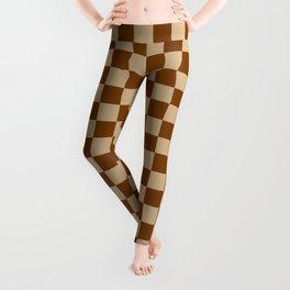 Tan Brown and Chocolate Brown Checkerboard Leggings