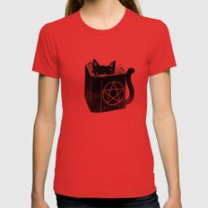 Witchcraft Cat Red Womens Fitted Tee SMALL