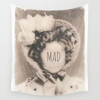 mad hatter Wall Tapestries featuring MAD by Oddworld Art