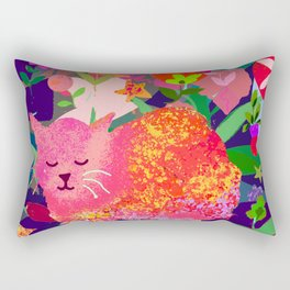 Sleeping Cat with Abstract Background Rectangular Pillow