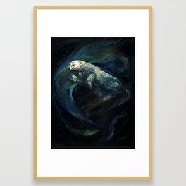 Polar Bear Swimming in Northern Lights Framed Art Print