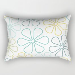 Abstract Flower Outlines Teals Yellow Lime White Rectangular Pillow