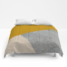 MUSTARD NUDE GRAY GEOMETRIC COLOR BLOCK Comforters
