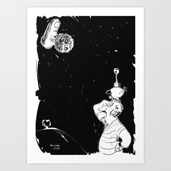 You show the moon, I look at the finger Art Print
