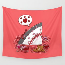 The Valentine's Day Shark Wall Tapestry