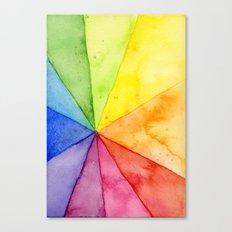Rainbow Watercolor Geometric Pattern Canvas Print