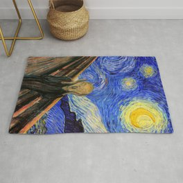 "Edvard Munch,"" The Scream "" + Van Gogh,"" Starry night "" Rug"