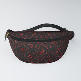 dark red music notes Fanny Pack