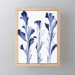 Painted Flowers In Blue Framed Mini Art Print