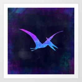 PTERODACTYL IN SPACE // Dinosaur Graphic Art // Watercolor Canvas Painting // Modern Minimal Cute Art Print