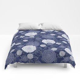 Indigo Chrysanthemums Comforters