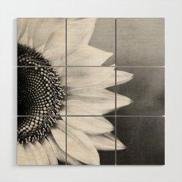 B&W Sunflower Wood Wall Art