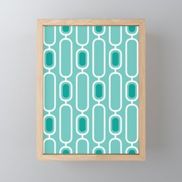 Aquamarine - Retro 50s Geometric Pattern Framed Mini Art Print