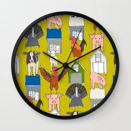 farm pop yellow Wall Clock