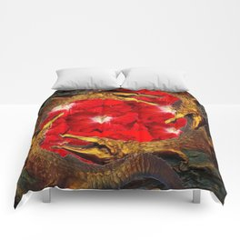 RED BLOODY HIBISCUS FLOWERS ALLIGATORS GOLD ART Comforters