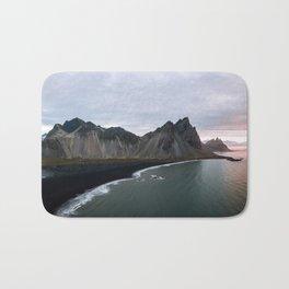Iceland Mountain Beach Sunrise - Landscape Photography Bath Mat