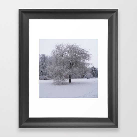 Tree and snow Framed Art Print