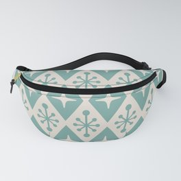 Mid Century Modern Atomic Triangle Pattern 710 Green and Beige Fanny Pack