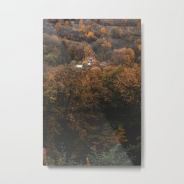 Lonely house in the middle of the fall trees Metal Print