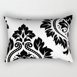 Decorative Damask Art I Black on White Rectangular Pillow