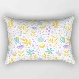 teal flowers and yellow leaves Rectangular Pillow