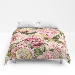 Vintage & Shabby Chic Floral Peony & Lily Flowers Watercolor Pattern Comforters