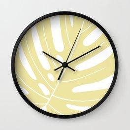 Yellow monstera deliciousa illustration Wall Clock