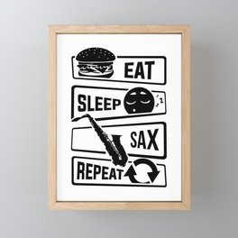 Eat Sleep Sax Repeat - Saxophone Music Instrument Framed Mini Art Print