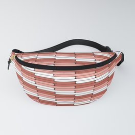 Staggered Oblong Rounded Lines Pantone Living Coral Illustration Fanny Pack
