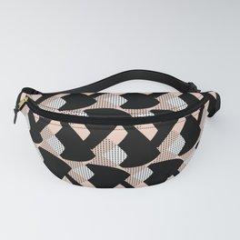 Weave me alone // pink, black + polka dot knit camo pattern Fanny Pack