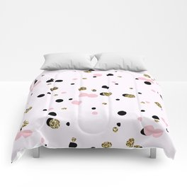 Pink Black Gold Party Dots Comforters