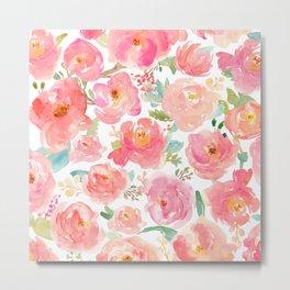 Pink Peonies Watercolor Pattern Metal Print