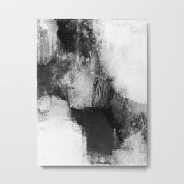 "Black and White Textured Abstract Painting ""Delve 3"" Metal Print"
