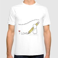 I Love You...  White SMALL Mens Fitted Tee