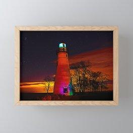 Erie glow lighthouse Framed Mini Art Print