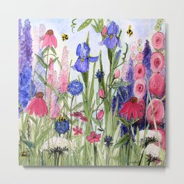 Colorful Garden Flower Acrylic Painting Metal Print