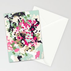 Finch - Modern abstract painting in free style modern colors navy, mint, blush, pink, white Stationery Cards