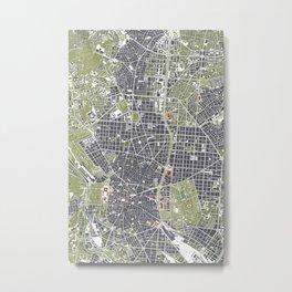 Madrid city map engraving Metal Print