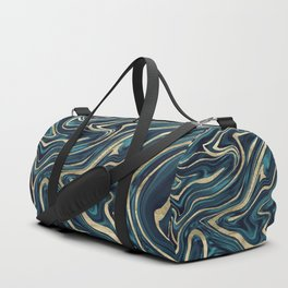Teal Navy Blue Gold Marble #1 #decor #art #society6 Duffle Bag