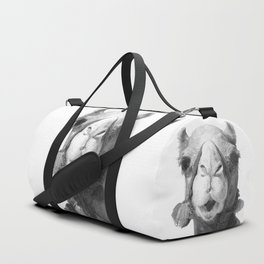 Black and White Camel Portrait Duffle Bag