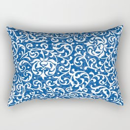 Blue Tudor Rose Damask Rectangular Pillow