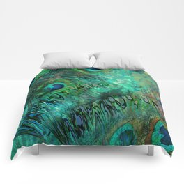 Peacock Feather Abstract  Comforters