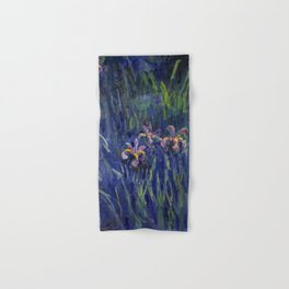 Irises No. 2 still life painting by Claude Monet Hand & Bath Towel