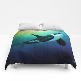 """""""The Dreamer Ascends"""" by artist Amber Marine ~ (Copyright 2015) ~ Orca / Killer Whale Art Comforters"""